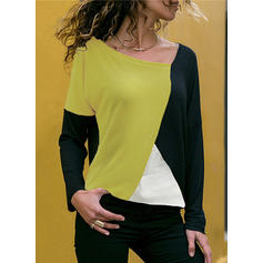 Color Block V-neck Long Sleeves Casual Knit T-shirts