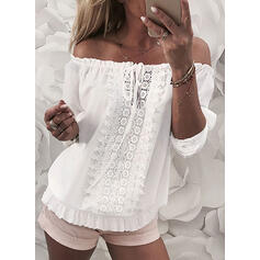 Solid Lace Off the Shoulder Long Sleeves Casual Blouses