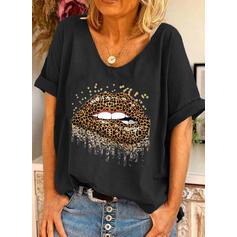 lampart Nadruk Okrągły dekolt Krótkie rękawy T-shirty