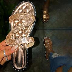 Femmes PVC Talon plat Sandales À bout ouvert Chaussons avec Strass Rivet chaussures