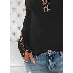 Leopard Round Neck Long Sleeves Button Up Casual Knit Blouses