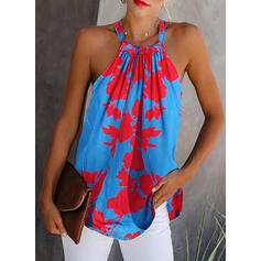 Print Cold Shoulder Sleeveless Casual Blouses