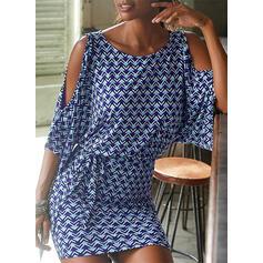 Print 1/2 Sleeves/Cold Shoulder Sleeve Bodycon Above Knee Casual/Elegant Dresses