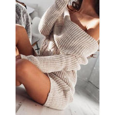 Solide Grof gebreid Off the Shoulder Sweaterjurk