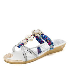 Women's Leatherette Flat Heel Sandals Flats Peep Toe Slingbacks Slippers With Rhinestone Flower shoes