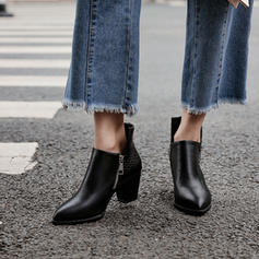 Vrouwen PU Chunky Heel Pumps Laarzen met Rits schoenen
