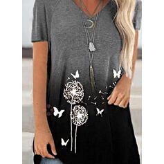 Animal Print Dandelion Gradient V-Neck Short Sleeves T-shirts