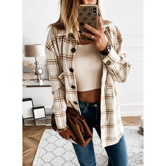 Plaid Lapel Long Sleeves Button Up Casual Shirt Blouses