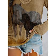 Animal Print V-Neck Long Sleeves T-shirts
