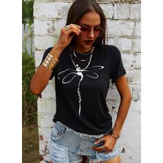 Animalske Udskriv Figur Rund hals Korte ærmer T-shirts
