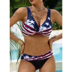 Star Strap V-Neck Vintage Plus Size Bikinis Swimsuits