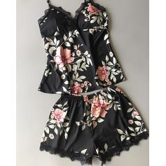 Low Cut Sleeveless Floral Print Elegant Pajamas Sets Cami & Short Sets