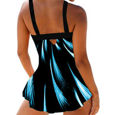 Print Strap Vintage Swimdresses Swimsuits