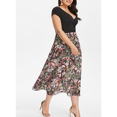 Print/Floral Short Sleeves A-line Casual/Plus Size Midi Dresses