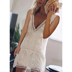 Lace/Solid Sleeveless Sheath Above Knee Casual Tank Dresses