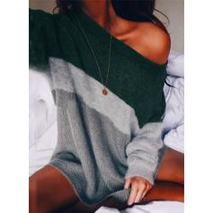 Blok Kolorów Na jedno ramię Sukienka sweterkowa