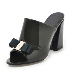Women's Patent Leather Chunky Heel Sandals Pumps Peep Toe Slingbacks With Bowknot shoes