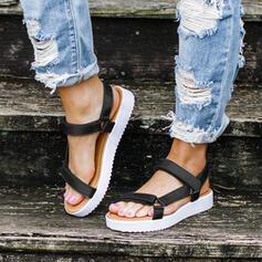 Women's PU Flat Heel Sandals Peep Toe With Velcro shoes