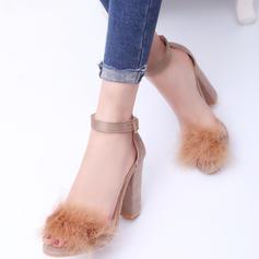 Frauen Veloursleder Stämmiger Absatz Sandalen Absatzschuhe mit Pelz Schuhe