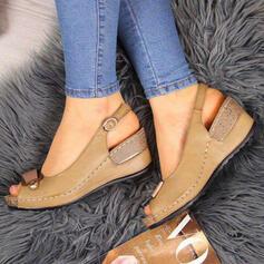 PU Tipo de tacón Sandalias Cuñas Encaje con Hebilla zapatos