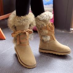 Couro Sem salto Botas na panturrilha com Pele Sintetica sapatos