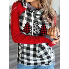 Gitter Leopard Lange Ärmel Weihnachts-Sweatshirt