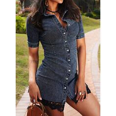 Denim/Lace Short Sleeves Sheath Above Knee Casual Shirt Dresses
