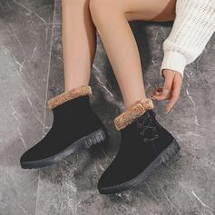 Kvinnor PU Flat Heel Boots med Bandage skor