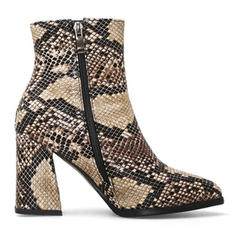 Women's Leatherette Chunky Heel Pumps Boots With Zipper shoes