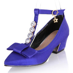 Women's Silk Like Satin Chunky Heel Pumps Closed Toe Mary Jane With Rhinestone Bowknot shoes