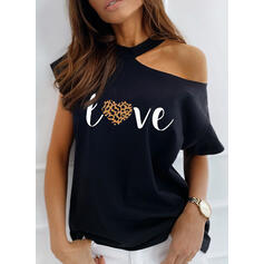 Print Leopard Heart One-Shoulder Short Sleeves Casual Blouses