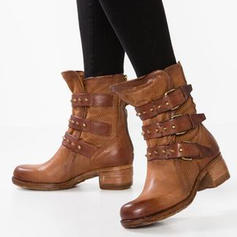 De mujer Cuero Tacón bajo Botas con Hebilla zapatos