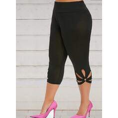 Solid Plus Size Capris Elegant Sexy Yoga Leggings