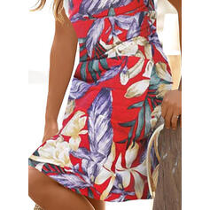 Print Sleeveless Sheath Knee Length Casual/Vacation Tank Dresses