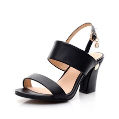 Women's Real Leather Chunky Heel Sandals Slingbacks With Buckle shoes