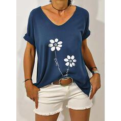 Kwiatowy Nadruk Wytłaczany Okrągły dekolt Krótkie rękawy T-shirty