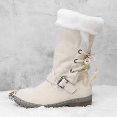 Femmes PU Talon bas Bottes mi-mollets Bottes neige avec Boucle Dentelle chaussures