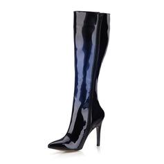 Femmes Cuir verni Talon stiletto Escarpins Bout fermé Bottes Bottes hautes chaussures