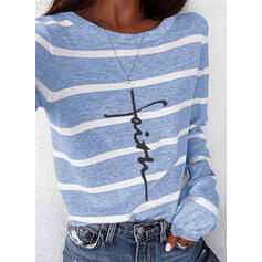 Print Striped Round Neck Long Sleeves Casual T-shirts