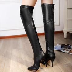 Femmes PU Talon stiletto Escarpins Bottes Cuissardes avec Zip chaussures
