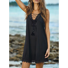 Lace/Solid Sleeveless Shift Above Knee Little Black/Casual/Vacation Tank Dresses