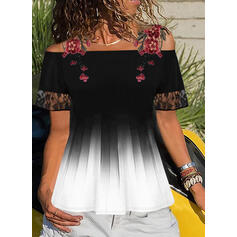 Embroidery Lace Cold Shoulder Long Sleeves Casual Blouses