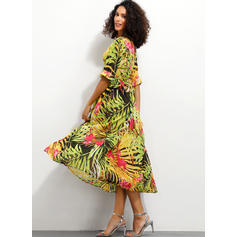 Print Long Sleeves A-line Midi Casual/Elegant Dresses