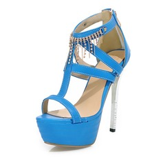 Women's Leatherette Stiletto Heel Sandals Pumps Platform Peep Toe With Rhinestone shoes