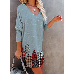 Print/Plaid Long Sleeves Shift Above Knee Christmas/Casual Tunic Dresses