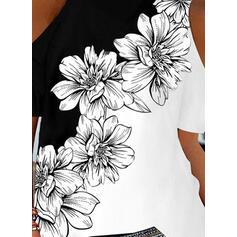 Renkli klişe Floral Imprimeu Soğuk omuz Mâneci Scurte Tişörtler