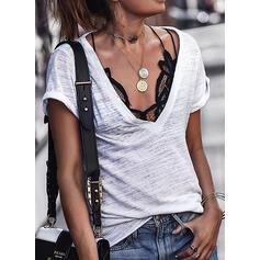 Solide V-hals Korte Mouwen Casual T-shirts