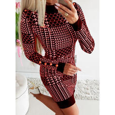 Print Long Sleeves Bodycon Above Knee Elegant Dresses