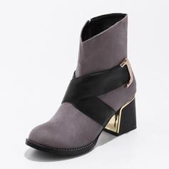 Dla kobiet Zamsz Obcas Slupek Kozaki Z Klamra obuwie