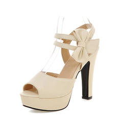 Women's PU Chunky Heel Sandals Pumps Platform Peep Toe Slingbacks With Bowknot shoes